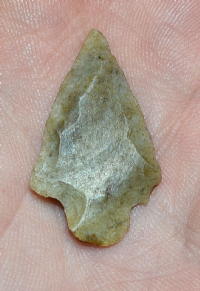 A pleasant Neolithic tanged flint arrowhead found in Hertfordshire. SOLD